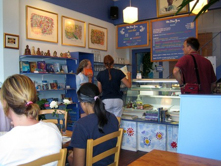 Happy customers at the Blue Bird café